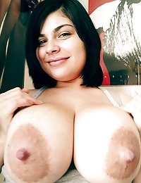Big tittied brunette babe shows tits and performs fellatio